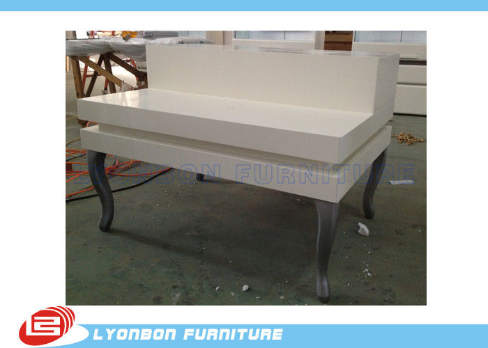 Grocery Malls Manual Polishing Retail Display Tables With White Painted