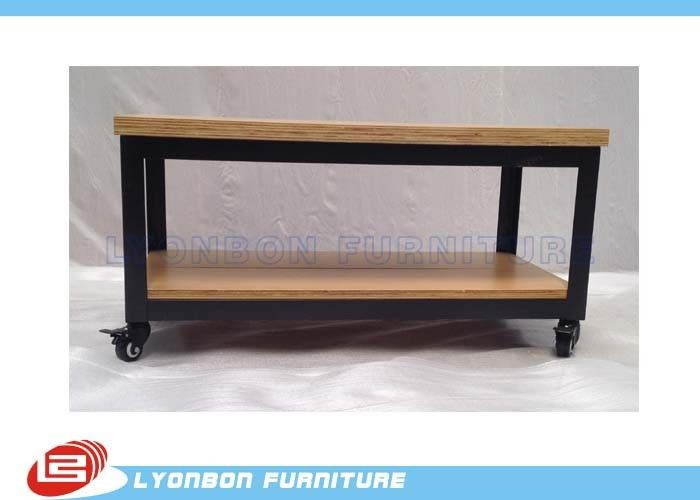 Custom Mobile Retail Display Tables / Desk Black Metal Display Table With Casters